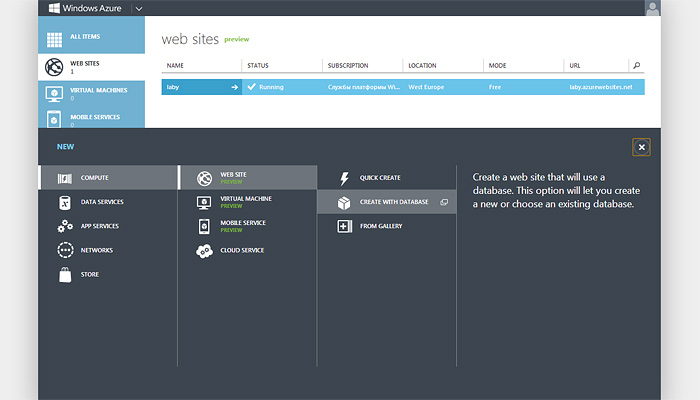 Создание веб-сайта в Windows Azure Web Site