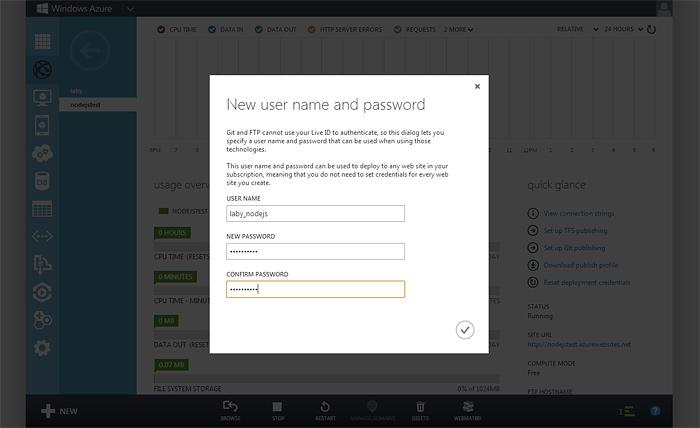 Логин и пароль Git в Windows Azure Web Site