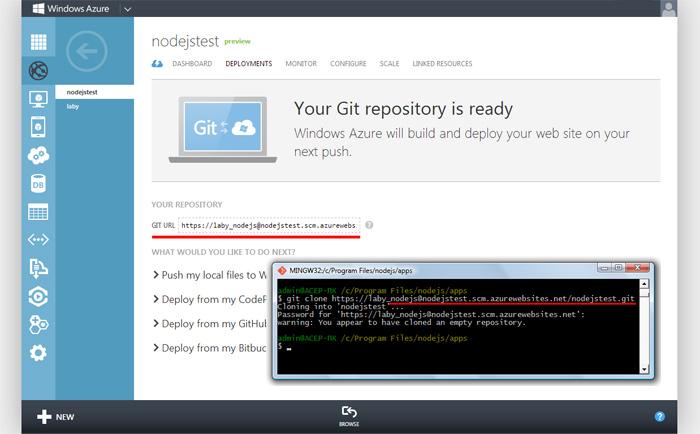 Клонирование проекта Git из Windows Azure Web Site на локальный компьютер