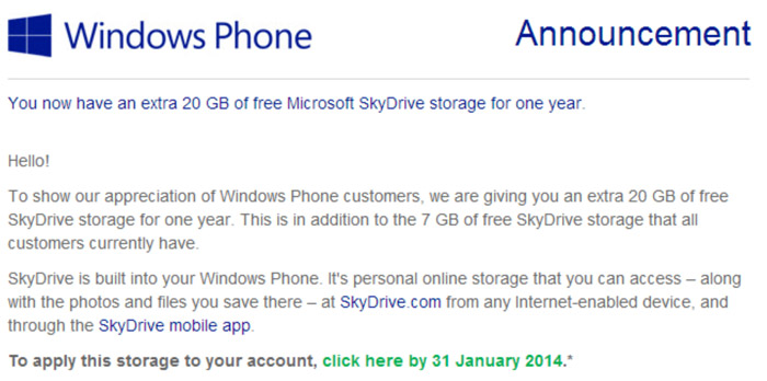SkyDrive 20 Gb