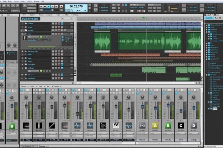 Sonar X1 Essential. Скриншот программы