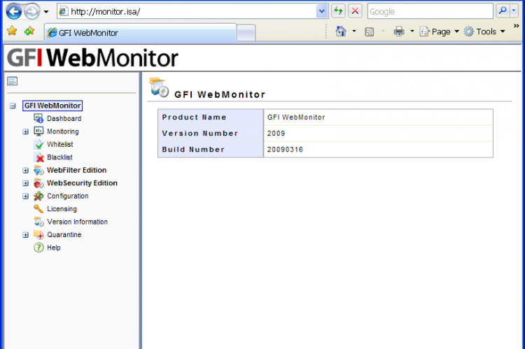 GFI WebMonitor Интерфейс