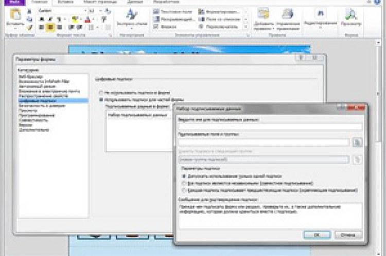 Microsoft Office InfoPath 2010. Создание форм с поддержкой цифровых подписей