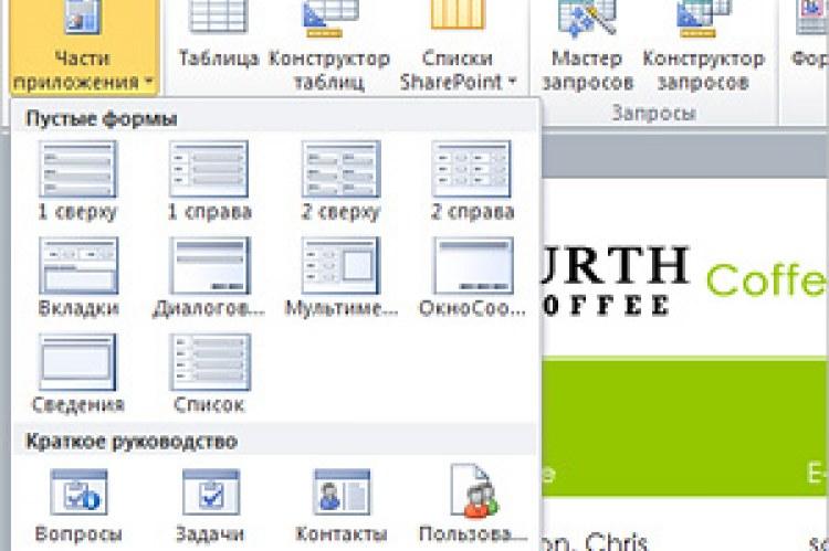 Microsoft Office Access 2010. Части приложений предоставляют модульные компоненты для баз данных Access