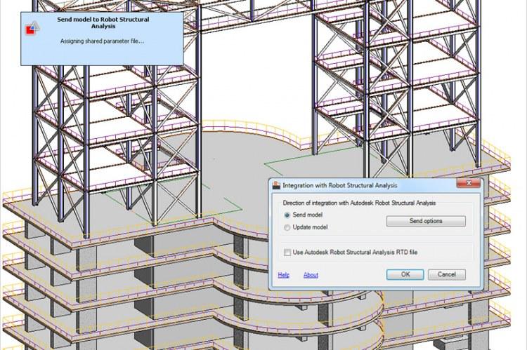 Модели, созданные в Autodesk Revit, обновляются в соответствии с изменениями, которые вносятся в Autodesk Robot Structural Analysis Professional