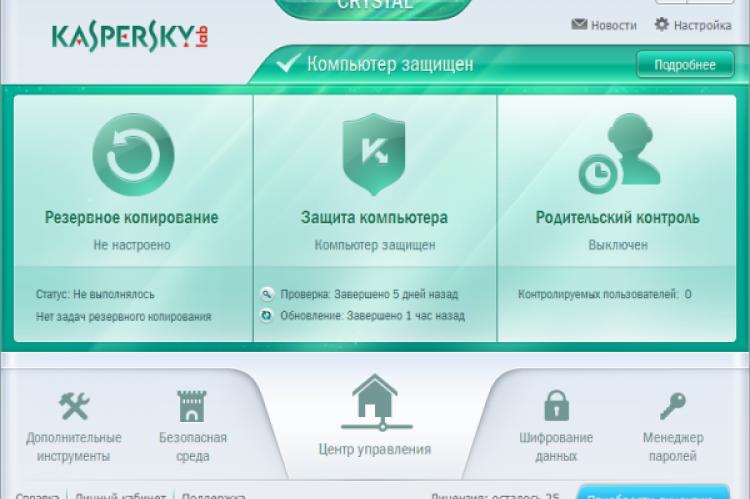 Kaspersky CRYSTAL 2014. Главное окно программы