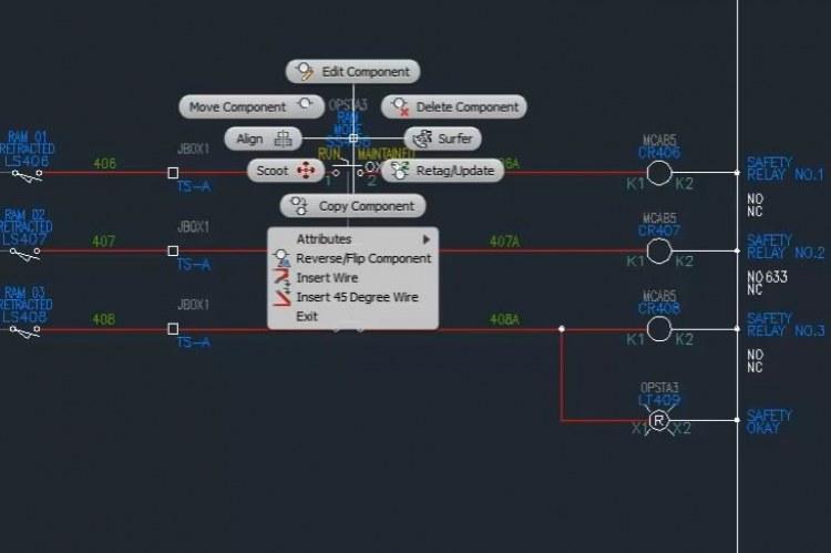 В AutoCAD Electrical 2013 добавлены отслеживающие меню