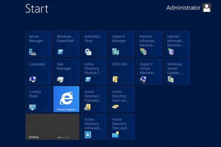 Windows Server 2012 Datacenter. Стартовый экран